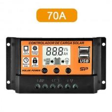 26428 12/24V USB Solar Panel 70A Battery Regulator Charge Intelligent Controller