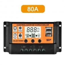 26427 12/24V USB Solar Panel 80A Battery Regulator Charge Intelligent Controller