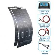 250112 Monocrystalline 200w 12 Volt Cell Flexible Solar Power System Kit Panel For Car Boat Battery Hike Controller
