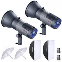 600W Battery Powered Outdoor Studio Flash Strobe Lighting Kit