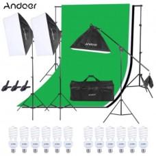 44140 Softbox Set Boom Arm 4 Head 540W 3 Backdrops Kit
