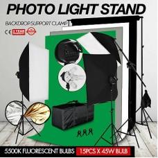 44141 Softbox Set Boom Arm 5 Head 675W 4 Backdrops Kit