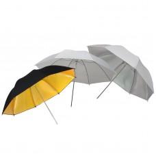 109cm 42 inch White Silver Gold and Black Studio Umbrella x3
