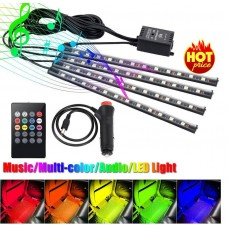 8 Color Car Tube Strip Underglow Neon Light Wireless Remote 12V
