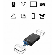4759 5 in1 USB 3.0 Type C / USB / Micro USB SD TF Memory Card Reader OTG Adapter