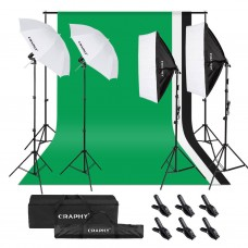 270W Backdrop 2 Umbrellas 2 Softbox  Lighting Kit