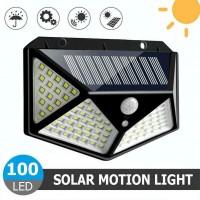 37532 100 LED Outdoor Solar Power Garden Lamp Four Sided