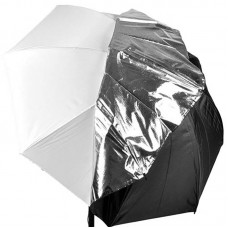109cm 43inch 2-in-1 Black Silver White Studio Collapsible Umbrella